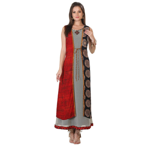 Multi-Colored Embroidered Cotton Kurti-www.riafashions.com