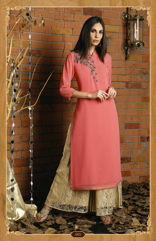 Georgette Kurta with Embroidery-www.riafashions.com