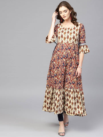 Multicoloured Rayon Long Dress