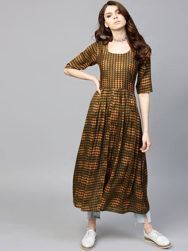 Readymade Brown Rayon Long Dress