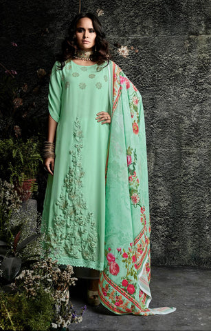 Sea Green Embroidered Suit Set-www.riafashions.com