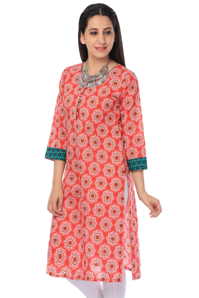 Peach Printed Cotton Designer Tunic-www.riafashions.com