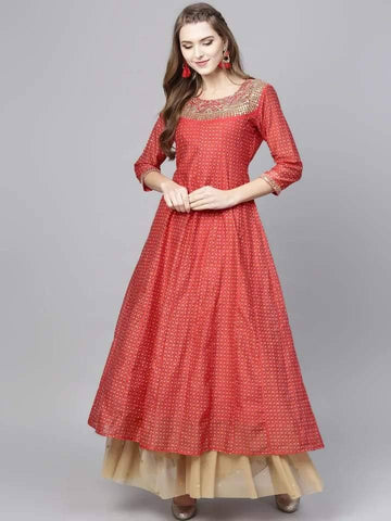 Flamboyant Red Colored Cotton Kurti