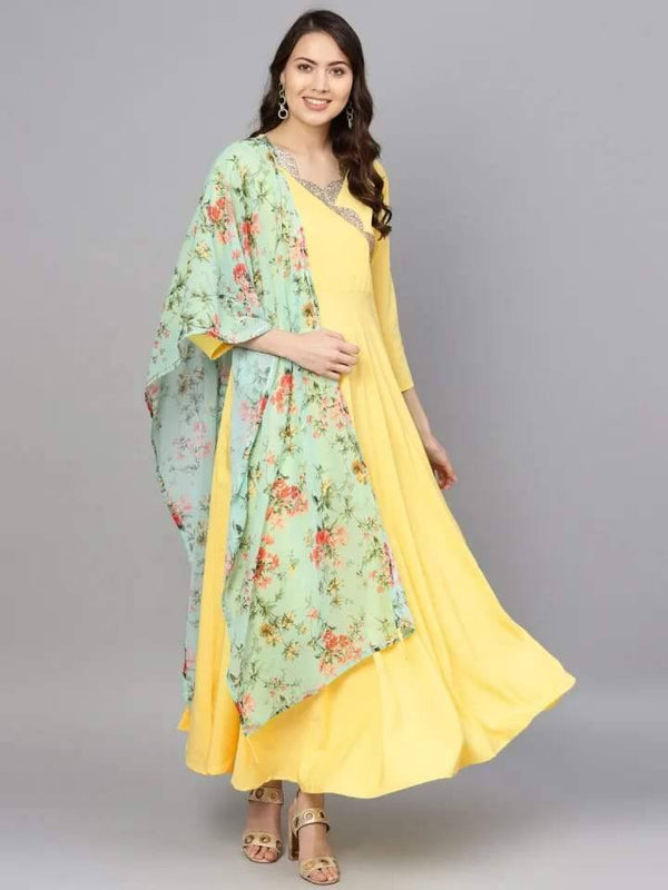 Gleaming Yellow Colored Crepe Kurti With Chiffon Dupatta