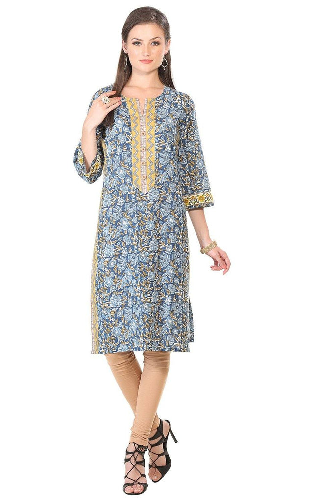 Blue Floral Print Long Cotton Kurta-www.riafashions.com
