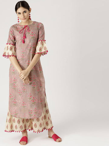 Mauve Cotton Blend Kurta with Plazzo