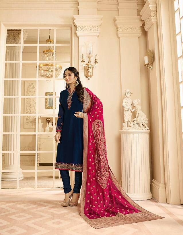 Navy Blue Make to Order Salwar Suit