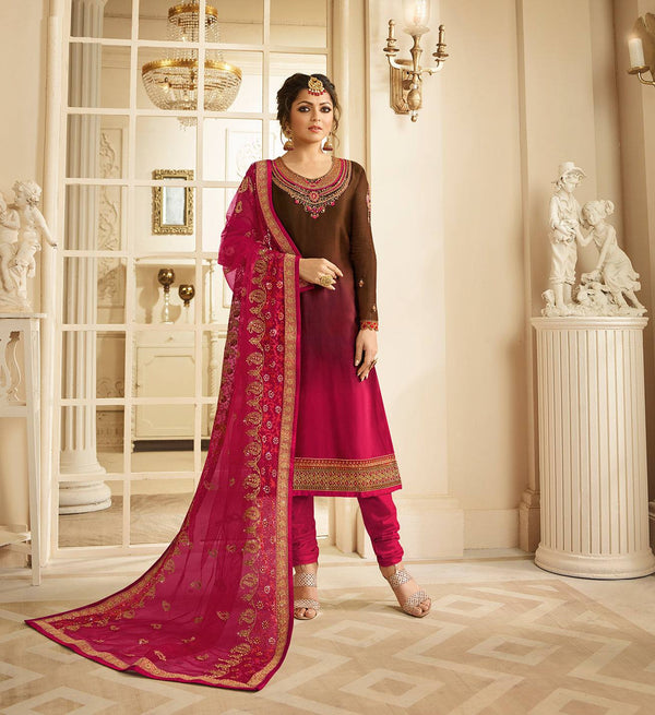 Brown and Pink Make to Order Salwar Suit