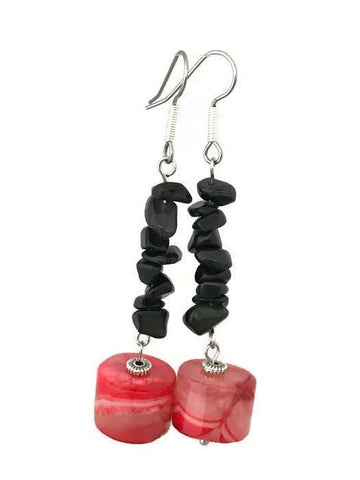 Red & Black Agate Drop Earrings-www.riafashions.com
