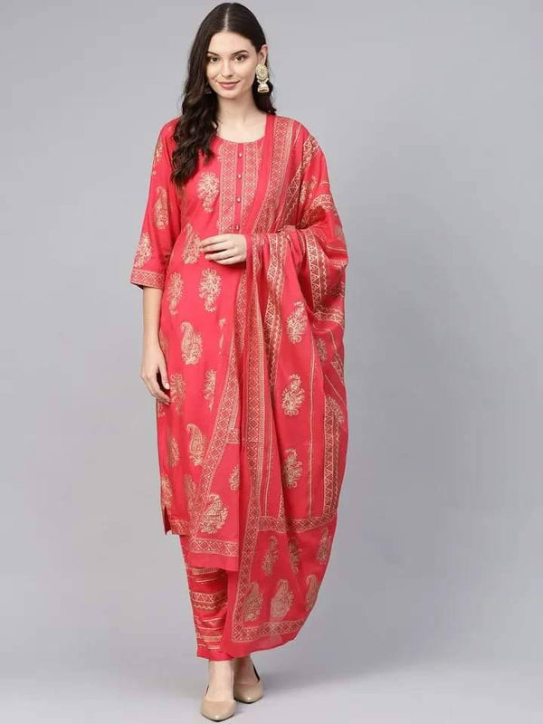 Ready Made Ambrosial Red Colored Cotton Palazzo Suit
