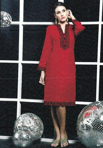 Red Embroidered Kurti-www.riafashions.com