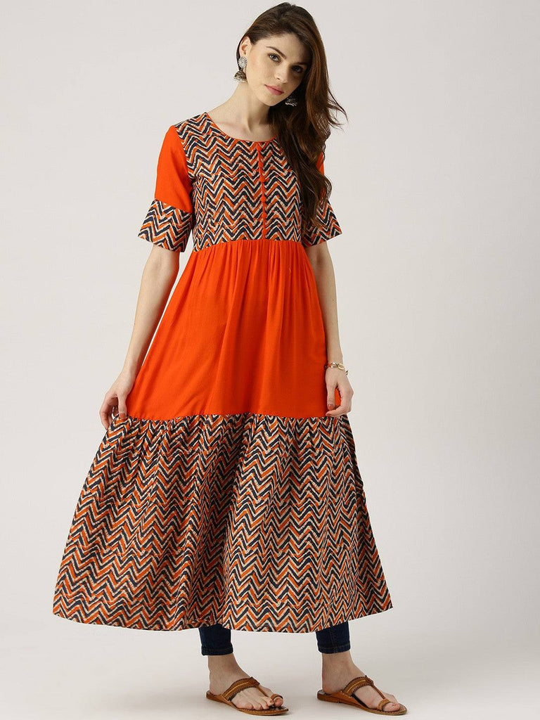 Orange Printed Long Dress-www.riafashions.com