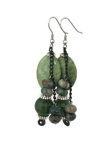 Oval green Agate drop Earrings-www.riafashions.com