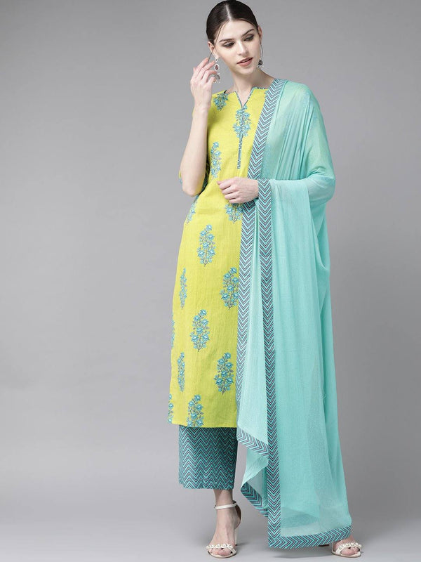 Lime Green & Blue Printed Make To Order Kurta With Palazzo And Dupatta