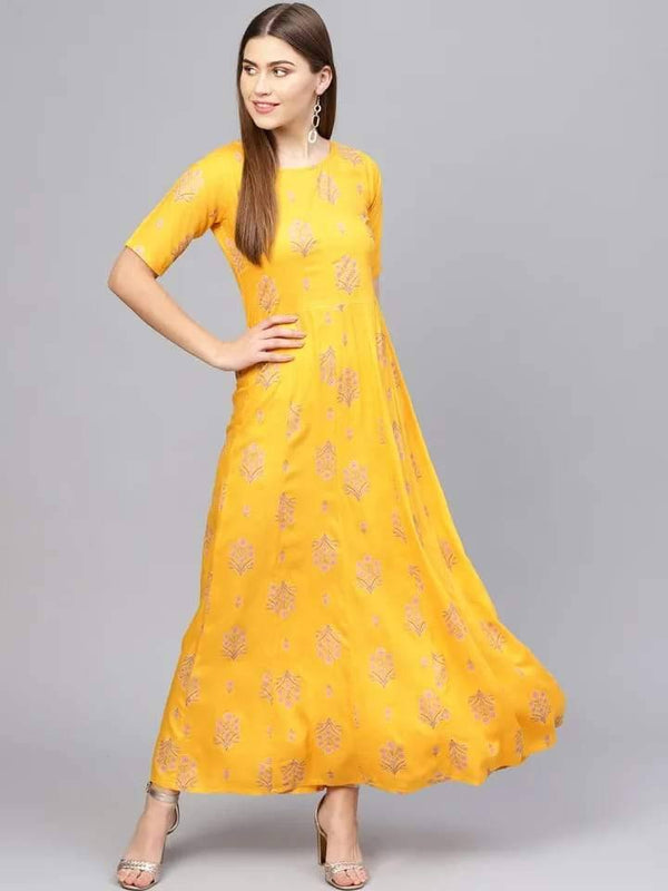 Brilliant Yellow Colored Cotton Kurti