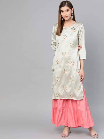 Remarkable Cream And Pink Colored Cotton - Rayon Sharara