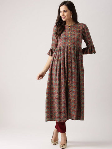 Multicoloured Printed Kurti-www.riafashions.com