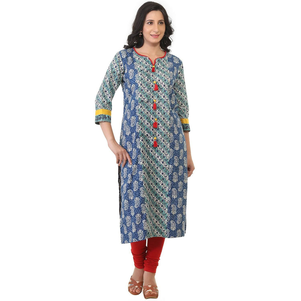 Mixed print cotton kurti-www.riafashions.com