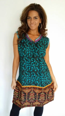 Printed Cotton Tunic with mirror work along hemline