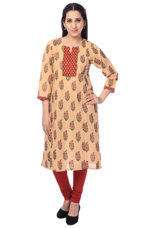 Coffee Printed Cotton Kurti-www.riafashions.com