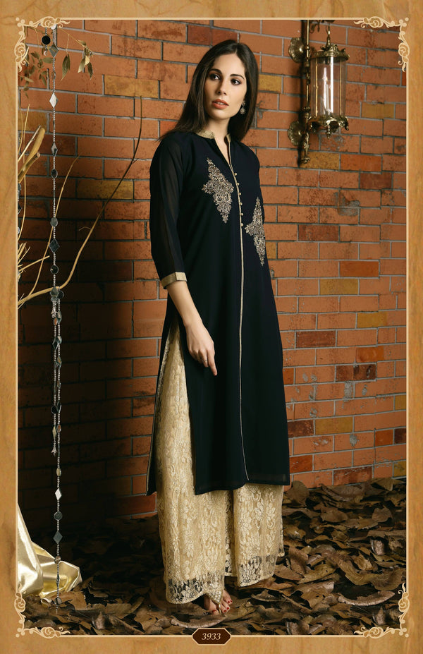 Georgette Palazzo with Embroidery-www.riafashions.com