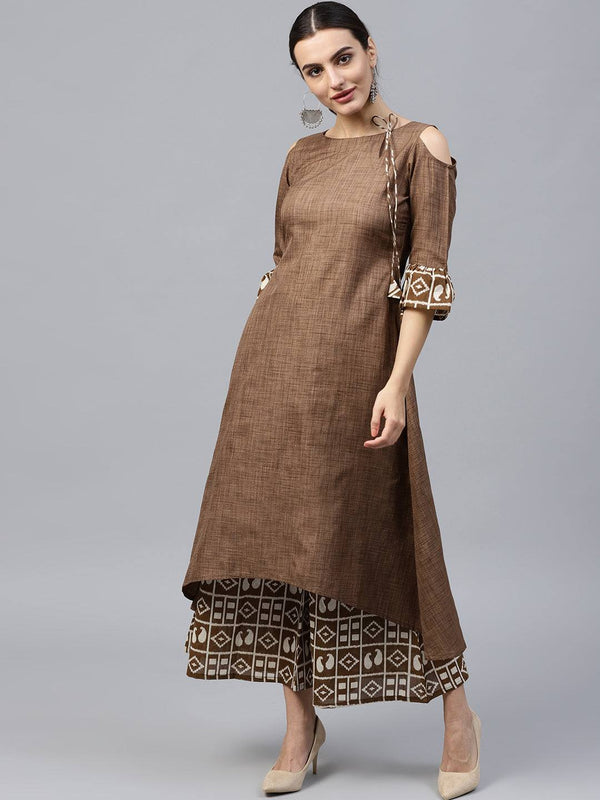 Readymade Brown Cotton Printed Palazzo Suit