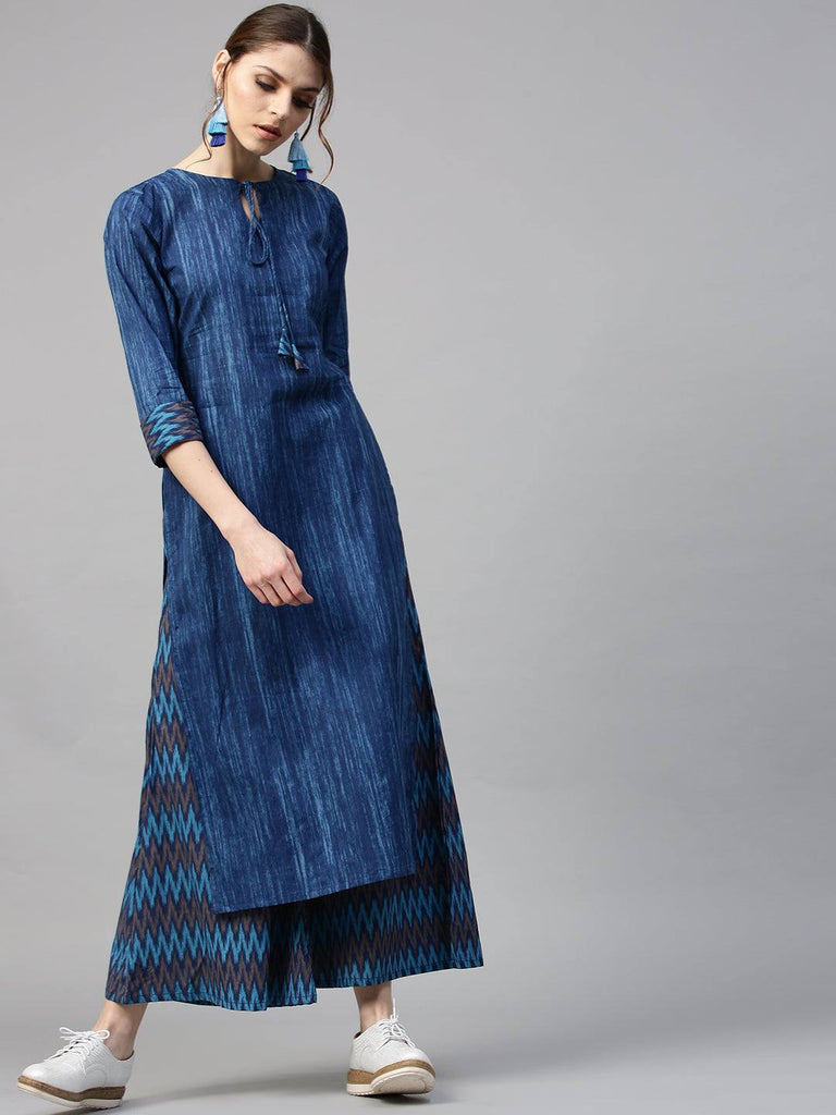 Readymade Blue Cotton Printed Palazzo Suit