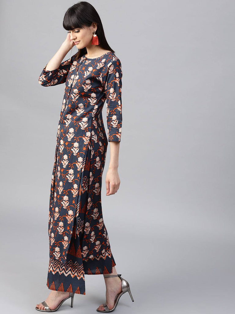 Navy Blue Cotton Printed Palazzo Suit