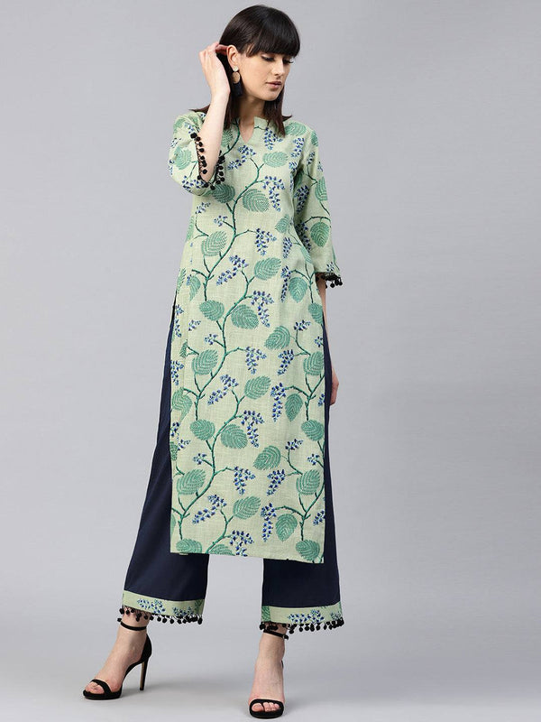 Readymade Sea Green Coloured Cotton Printed Palazzo Suit