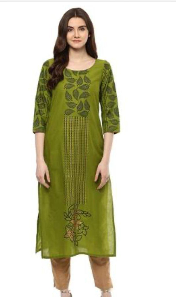 Readymade Olive Green Printed A-Line Kurti