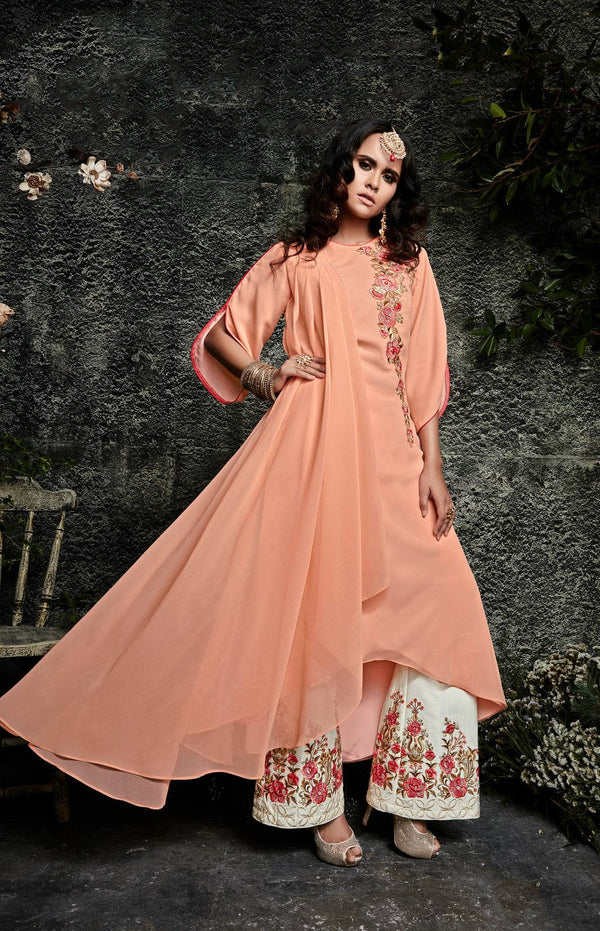 Peach Embroidered Suit Set-www.riafashions.com