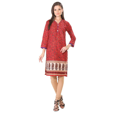Maroon Jaipuri Print Long Cotton Kurti Dress-www.riafashions.com