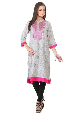 White Embroidered Long Cotton Kurta-www.riafashions.com
