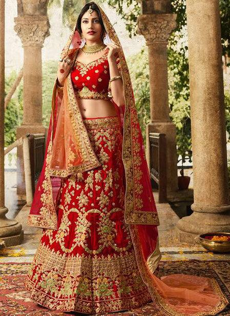 Red Wedding Lehenga Set-www.riafashions.com