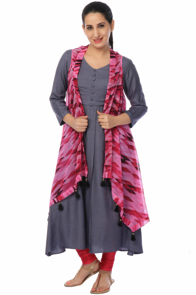 Dark Grey Kurta with Designer Jacket-www.riafashions.com