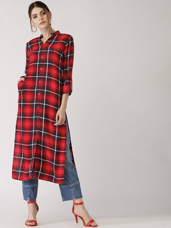 Red Check Printed Long Kurti.-www.riafashions.com