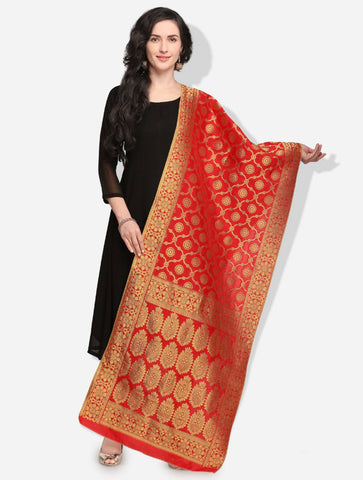 Red Colored Designer Banarasi Silk Dupatta With Heavy Jaquard Work