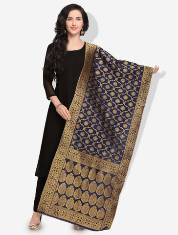 Navy Blue Colored Designer Banarasi Silk Dupatta With Heavy Jaquard Work