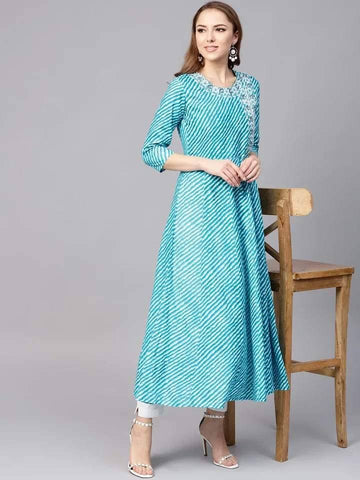 Energetic Turquoise Colored Cotton Kurti