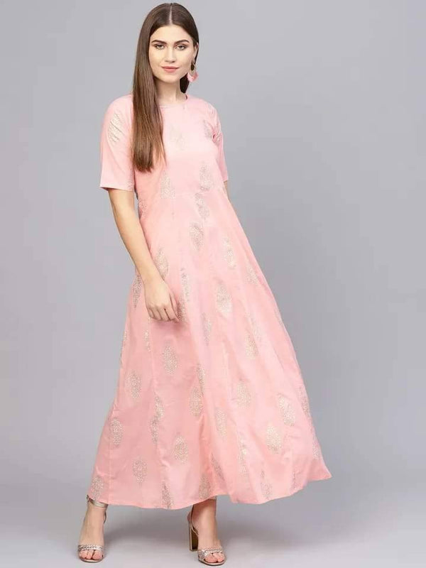 Lustrous Pink Colored Cotton Kurti