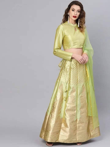 Pretty Greenish-Yellow Colour Brocade Lehenga