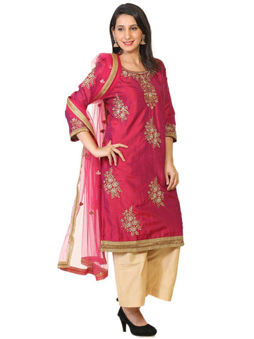 Cotton Silk Embroidered Salwar-www.riafashions.com