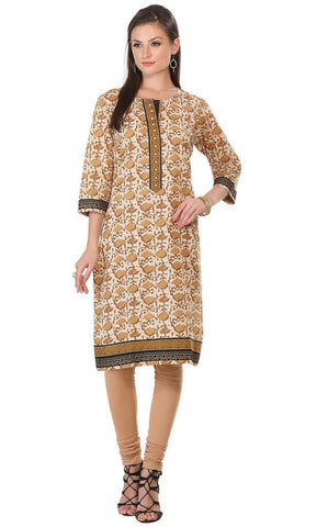 Brown Embroidered Cotton Kurti-www.riafashions.com