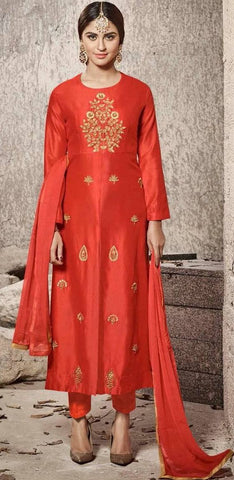 Red Art Silk Salwar Set-www.riafashions.com