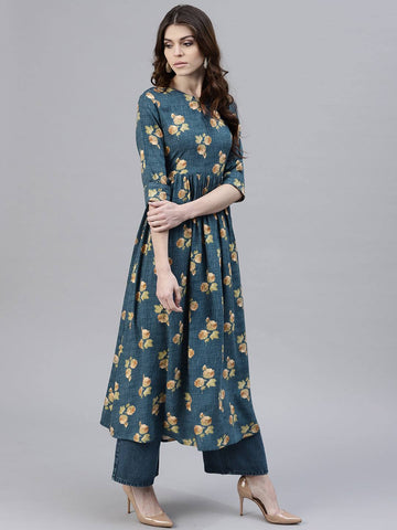 Dark Grey Printed Cotton Kurti-www.riafashions.com