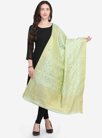Aquamarine Colored Designer Banarasi Silk Dupatta With Heavy Jaquard Work