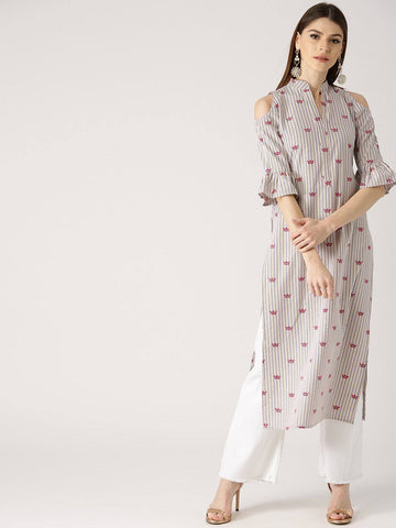 Off White Printed Kurti-www.riafashions.com