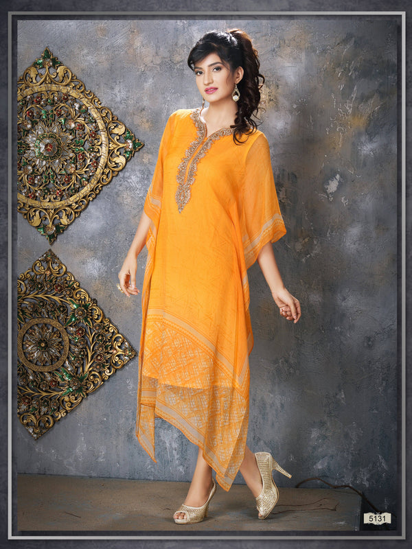 Yellow Colour Embroidered Party Wear Kaftan Kurti