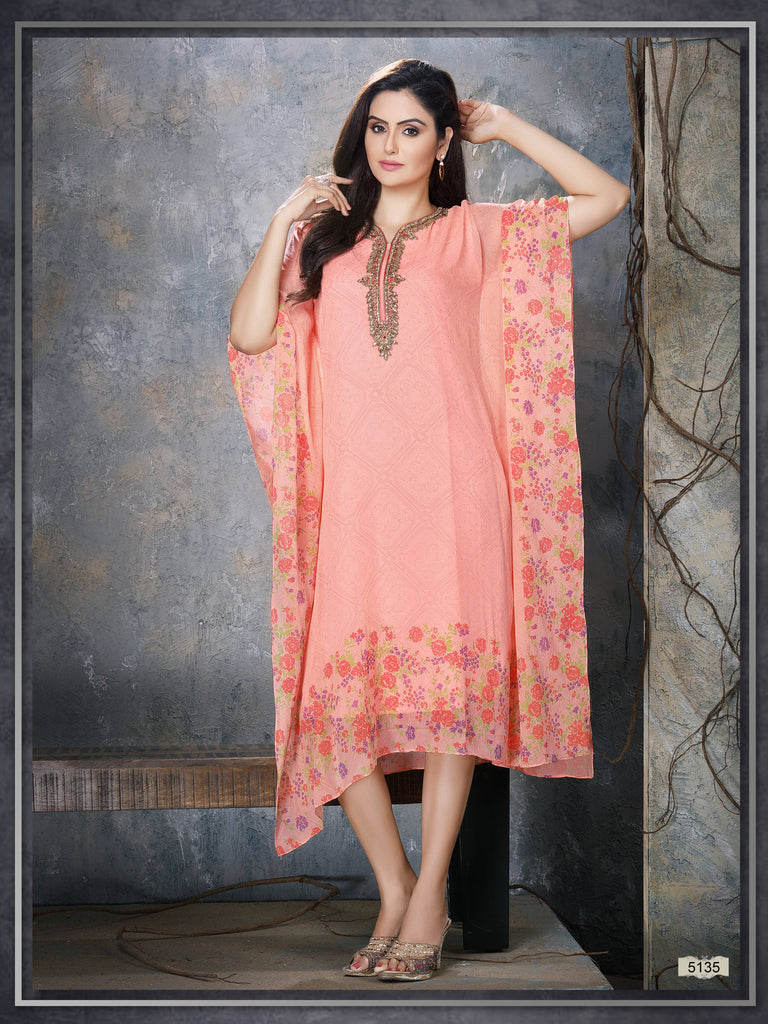 Pink Colour Embroidered Party Wear Kaftan Kurti