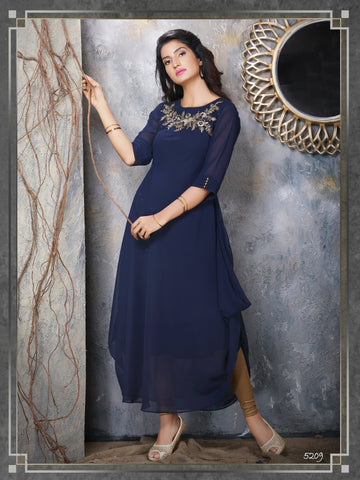 Navy Blue Embroidered Party Wear Kurta